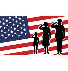 Usa soldier family salute vector