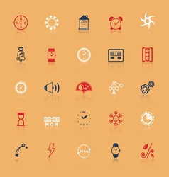 Design time and direction line icons flat color vector