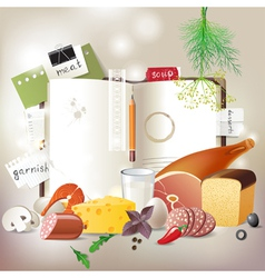 Cookbook with food vector