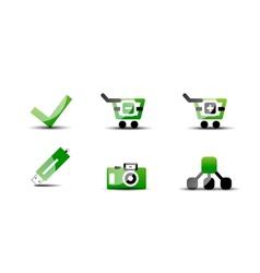 Modern web green  black icon set vector
