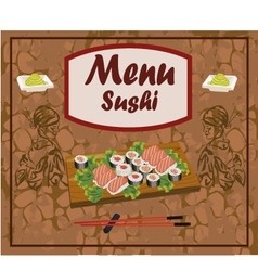 Sushi meal taditsionnaya east china japan korea vector