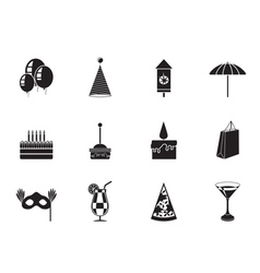 Silhouette party and holidays icons vector