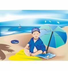 Child on the beach vector