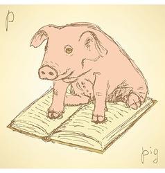 Sketch fancy pig in vintage style vector