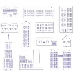 Buildings and houses outline simple symbols eps10 vector