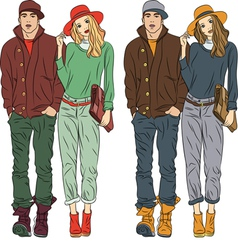 Fashion stylish guy and girl in spring clothes vector