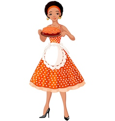 Young lady serving cake vector