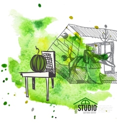 Creative abstract interior design vector