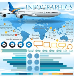 An infographics with an airplane vector