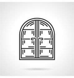 Arc window black line icon vector