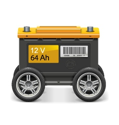 Car battery on wheels vector