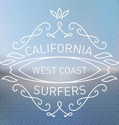 California west coast surfers monograms style vector