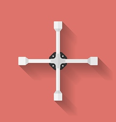 Wheel wrench or lug wrench icon flat style vector