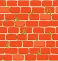 Brick wall with grass vector