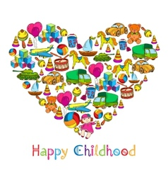 Toys heart happy childhood vector