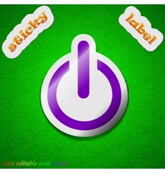Power icon sign symbol chic colored sticky label vector
