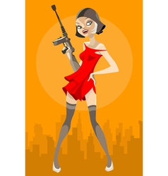 Cartoon girl with a weapon vector