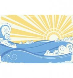 Vintage sea waves vector