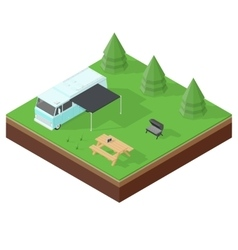 Camping rv outdoor vacation isometric icon set vector