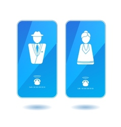 Icons of dialing mister and missis on screen vector