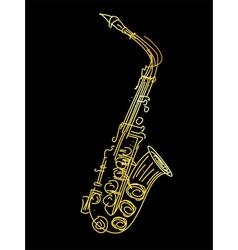 Golden saxophone vector