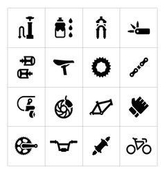 Set icons of bicycle parts and accessories vector