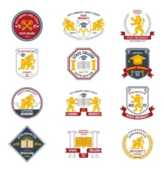 University labels colored vector