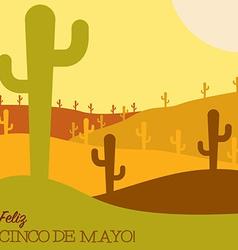 Mexican desert cactus scene in format vector