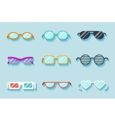 Set of flat glasses vector