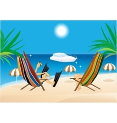 Man and woman sitting in the lounge chairs vector
