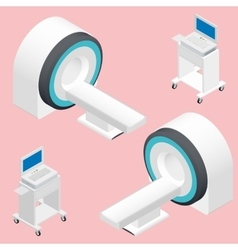 Mri and ecg medical devices isometric icon set vector