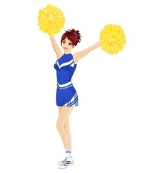 Cheerleader with poms vector
