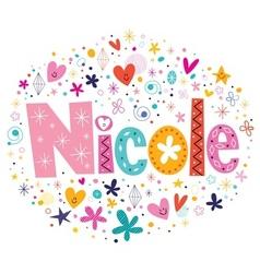 Nicole female name design decorative lettering vector