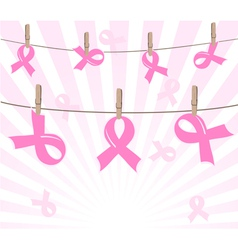 Pink ribbons on ropes vector