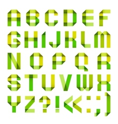 Spectral letters folded of paper ribbon-green and vector