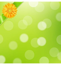 Green nature background with yellow gerbers and vector