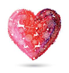 Christmas love heart arty greeting card vector