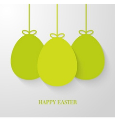 Easter greeting card with hanging paper green eggs vector