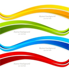 Set of wavy colorful banners vector
