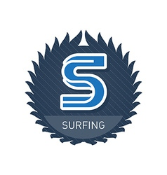 Surfing - sports and recreation label or heraldic vector