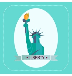 New york statue of liberty icon flat vector