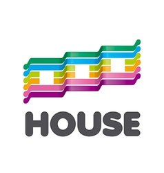 Logo striped colorful houses vector