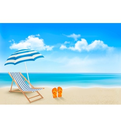 Seaside view with an umbrella beach chair and a vector