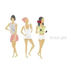 Slender shape fitness girls vector
