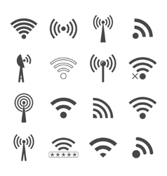 Set of different black wifi icons concept of vector