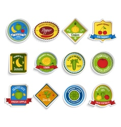 Fruits vegetables stickers set color vector