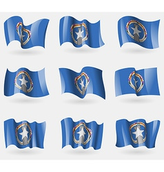 Set of marianna islands flags in the air vector