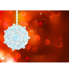 Red snowflake over bokeh background eps 8 vector