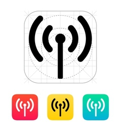 Radio antenna sending signal icon vector