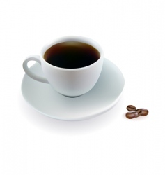 Cup of coffee beans vector